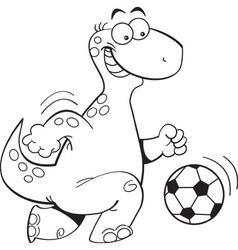 Cartoon dinosaur playing soccer vector image vector image