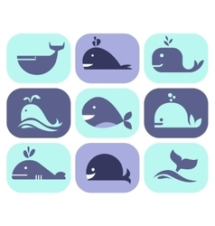 Collection of whale icons vector