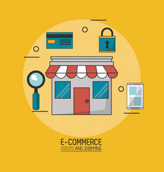 colorful poster in yellow background of e-commerce vector image