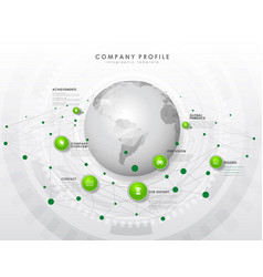 Company profile overview template with green vector