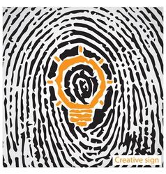 Creative light bulb idea concept with fingerprint vector