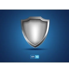Empty silver shield on the blue background vector image vector image