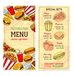 Fast food restaurant fastfood meals menu vector