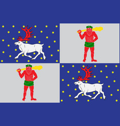 Flag of norrbotten county in lappland province of vector