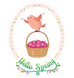Flying bird in floral frame with lettering vector