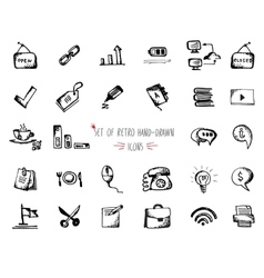 Hand-drawn sketch web icon set - office economy vector image