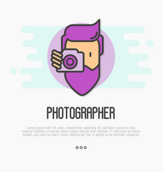 hipster bearded man with camera is making photo vector image vector image