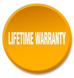 Lifetime warranty orange round flat isolated push vector