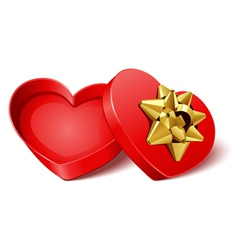open gift heart with gold bow vector image
