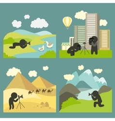 Photographer shooting at locations vector