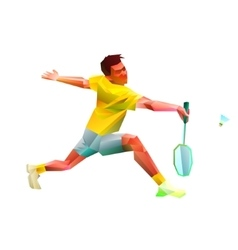 Polygonal professional badminton player vector image vector image