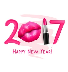 Red lipstick new year poster vector
