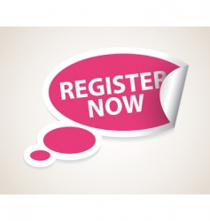 register now label vector image