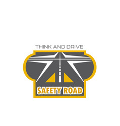 safety road isolated icon with highway crossroad vector image vector image