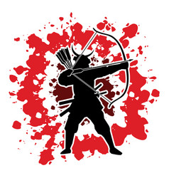 samurai warrior with bow bowman archer fighter vector image vector image