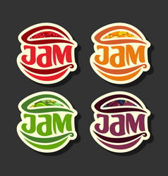 set simple fruits jam labels vector image