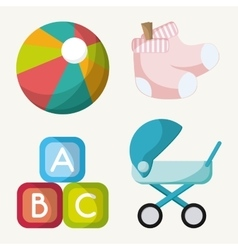 Stroller ball toy and baby sock design vector image