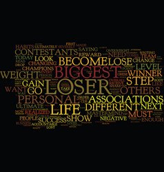The biggest loser text background word cloud vector
