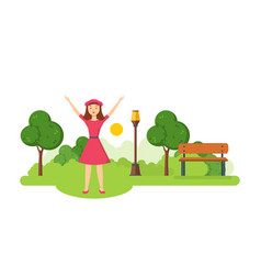 The girl came in the summer park and recreation vector