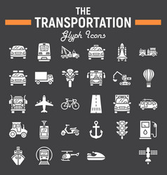 transportation glyph icon set transport symbols vector image vector image