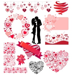 valentines collection of different hearts vector image vector image