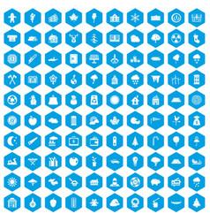 100 lumberjack icons set blue vector