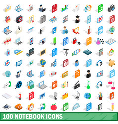 100 notebook icons set isometric 3d style vector