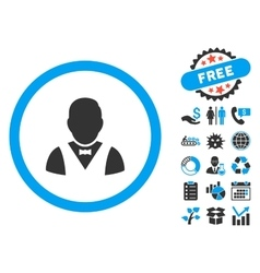 Waiter flat icon with bonus vector