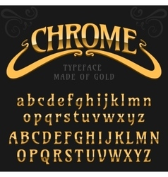Chrome letters typeface made of steel modern vector