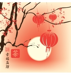 Autumn landscape with tree and paper lanterns vector