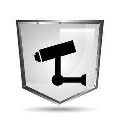 Video surveillance symbol icon shield steel vector