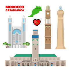 Morocco casablanca travel set with architecture vector