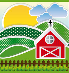 color sun with cloud mountains and farm vector image