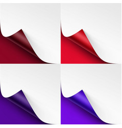 Set of curled colored corners of white paper vector