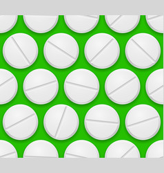 Seamless texture realistic pills on green vector