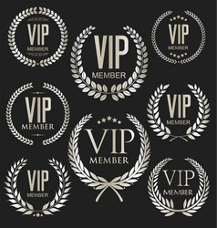 vip laurel wreath silver collection vector image