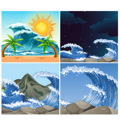 Ocean scenes with big waves day and night vector
