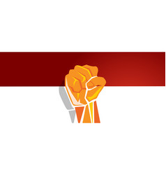 indonesia independence day hand fist arm flag red vector image