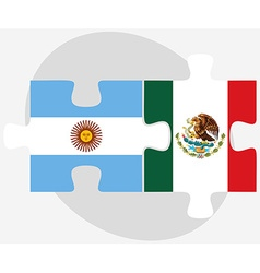 Argentina and mexico flags in puzzle vector