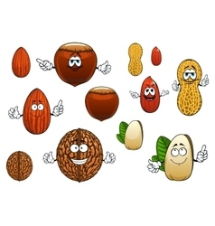 Cartoon isolated funny nuts characters vector