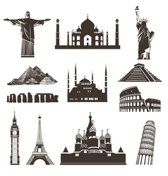 Travel icon set silhouettes vector