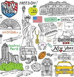 New york city doodles elements hand drawn set with vector