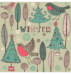 Vintage winter birds pattern vector