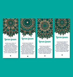 banners floral paisley or mandala pattern vector image