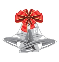 Bow and campanulas on white background vector image vector image