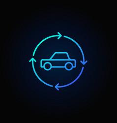Car in circular arrows blue line icon vector