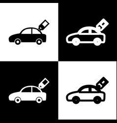 Car sign with tag black and white icons vector