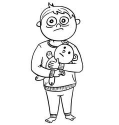 Cartoon of scared boy in pyjamas holding a teddy vector