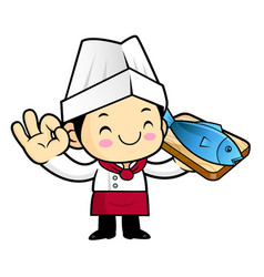 Chef character fish and okay gestures isolated on vector