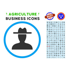 Farmer rounded icon with set vector
